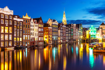 Autocollant pour porte Amsterdam Night view of Amsterdam, Netherlands