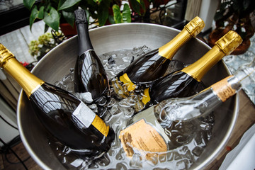 Bottles of champagne with ice.