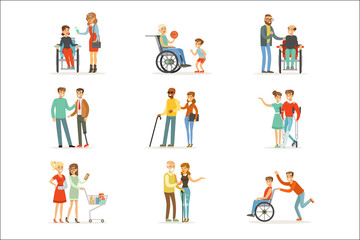 Disabled people and friends helping them set for label design. Cartoon detailed colorful Illustrations