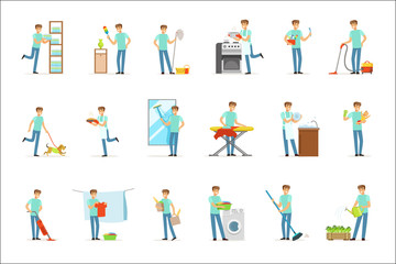 Smiling househusbands washing, cooking, cleaning and shopping. Set of colorful cartoon detailed vector Illustrations