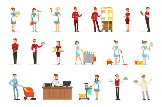 Hotel staff set for label design. Colorful cartoon detailed Illustrations