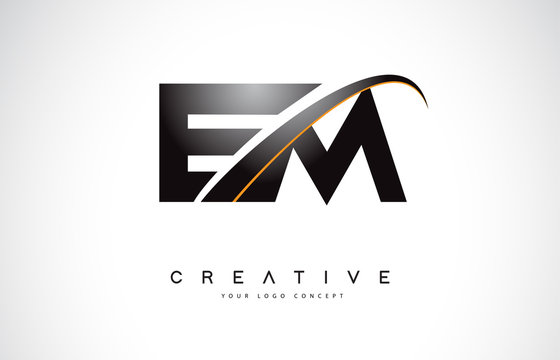 EM E M Swoosh Letter Logo Design with Modern Yellow Swoosh Curved Lines.