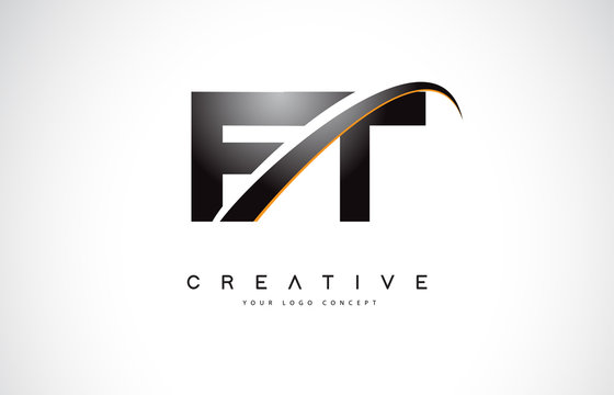 FT F T Swoosh Letter Logo Design with Modern Yellow Swoosh Curved Lines.