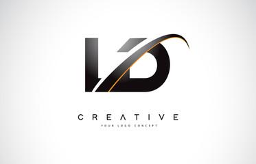 Fototapeta LD L D Swoosh Letter Logo Design with Modern Yellow Swoosh Curved Lines. obraz