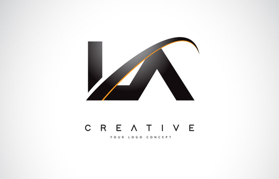 LA L A Swoosh Letter Logo Design with Modern Yellow Swoosh Curved Lines.