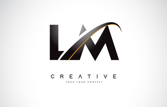 LM L M Swoosh Letter Logo Design with Modern Yellow Swoosh Curved Lines.