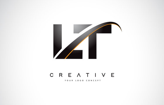 LT L T Swoosh Letter Logo Design with Modern Yellow Swoosh Curved Lines.