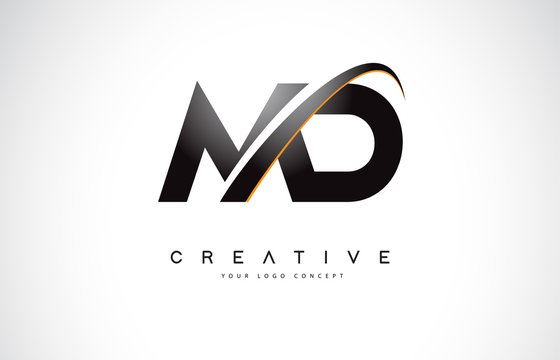MD M D Swoosh Letter Logo Design with Modern Yellow Swoosh Curved Lines.