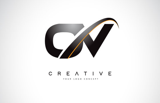 OV O V Swoosh Letter Logo Design with Modern Yellow Swoosh Curved Lines.