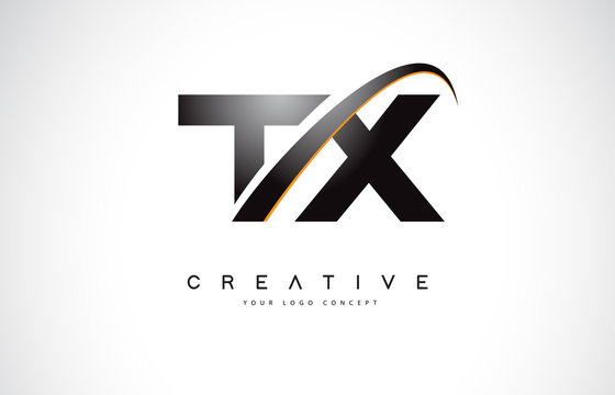 TX T X Swoosh Letter Logo Design with Modern Yellow Swoosh Curved Lines.