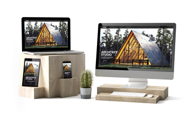wooden cubes devices isolated architect responsive website