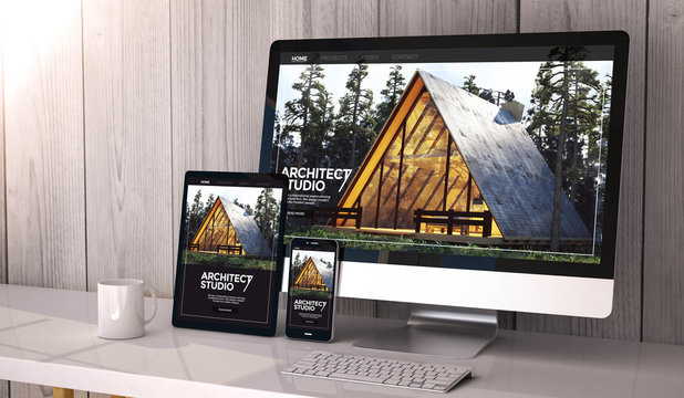 devices responsive on workspace architect website design