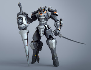 Sci-fi mech warrior holds a large lance with one hand and a katana in the other hand. Futuristic robot with white and gray color metal. Mech Battle. Orange paint. 3D rendering on a gray background.