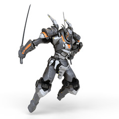 Sci-fi mech warrior holding two swords in fighting position. Mech in a jumping pose. Futuristic robot with white and gray color metal. Mech Battle. Orange paint. 3D rendering on a white background.