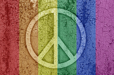 Sign of peace in rainbow color on a metal background