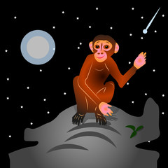 The Cartoon Monkey sits on a hill, with a raised hand (gesture, hello). Night landscape against the backdrop of stars and moon