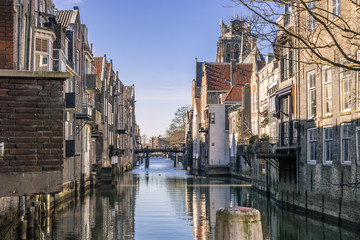 Sunny day at the Canals of Dordrecht located in The Netherlands