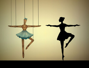 dancer concept, ballerina marionette to compare with real person,