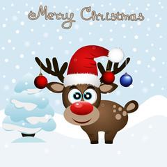 Christmas card. Funny card with a Christmas deer.