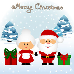 Christmas card. Funny postcard with Mrs. Santa Claus and Santa C
