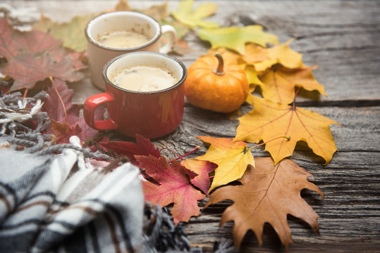 Coffee in enamel mugs. Fall or autumn blanket, leaves, rustic. Selective focus, copy space