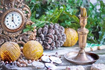 Christmas decoration balls, clocks, candle