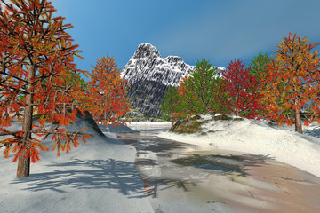 Snow on the river, an autumn landscape, beautiful trees, frozen waters and a blue sky.