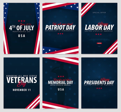 Set of USA celebrations. Public Holidays. 4th July, Patriot day, Labor day, Veteran's day, Memorial and Presidents day.