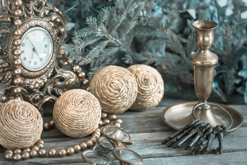 Christmas decoration balls, clocks, candle