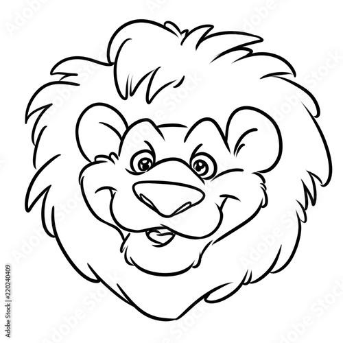 Lion Funny Head Red Mane Emblem Cartoon Illustration Isolated Image