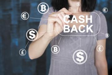 Businessman presses button cash back online icon in network.