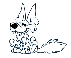 Cheerful wolf animal character sitting cartoon illustration isolated image coloring page
