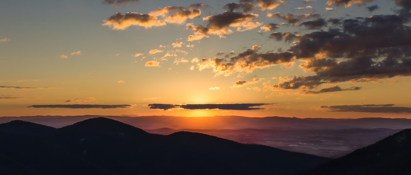 A sunset with clouds as seen from Skyline Drive of Shenandoah National Park