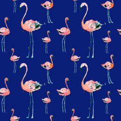 Hand Drawn Illustration With Flamingo. Exotic Summer Beach Motif. Swimwear Design, Wrapping, Background, Wallpaper, Fabric. Hawaiian Print. Jungle Birds Repeated Ornament. Aloha. Boho. Africa.