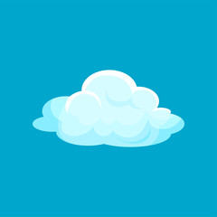 Cartoon icon of small fluffy cloud flying in sky. Flat vector element for children story book or greeting card