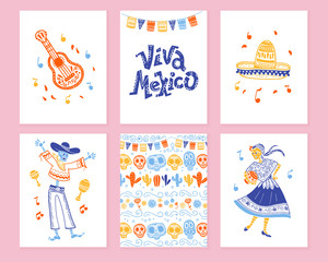 Vector collection of cards with traditional decoration for Mexico day dead party, dia de los muertos celebration in flat hand drawn style. Lettering congratulation, guitar, sombrero, skeleton, pattern