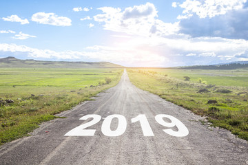 asphalt road and New year 2019 concept.