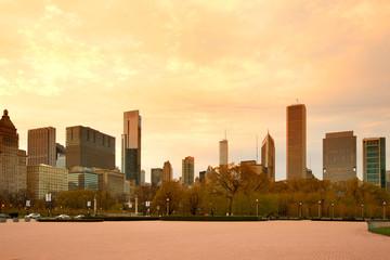 Downtown skyline at dusk, Chicago, Illinois, USA