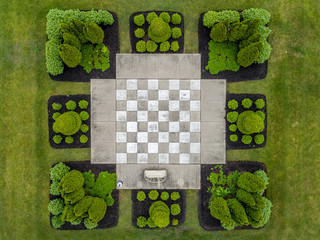 Overhead Outdoor Chess Set Landscaping