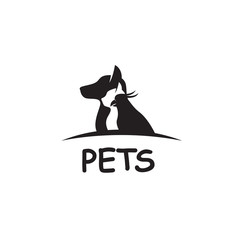 monochrome pet hsop label with cat, bird and dog