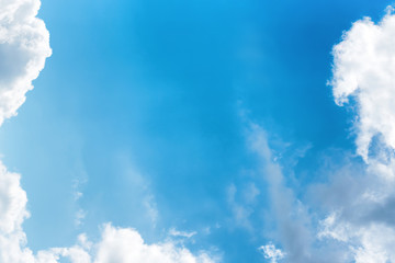Beautiful pure white clouds on bright blue sky