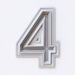 White picture frame font Number 4 FOUR 3D