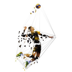 Volleyball player serving ball, polygonal vector illustration