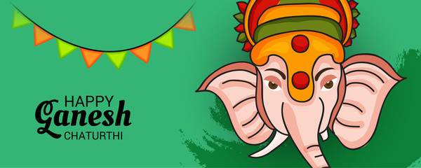 illustration of a Creative Card, Poster or Banner for Festival of Ganesh Chaturthi Celebration.