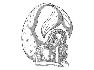 Comic Meerjungfrau Outline