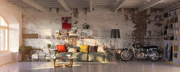 Fototapeten Retro modern vintage brick loft apartment with flares