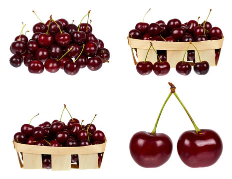 set of different Sweet ripe cherry in package isolated on white background