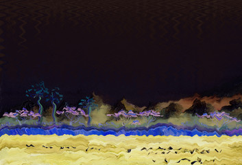 Lake with tropical trees on the shore and birds on the surface of the water. Night scenery is a starless night. In the background are the mountains. Oil painting and digital technologies.