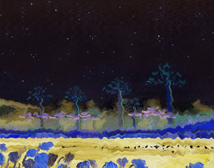 Lake with tropical trees on the shore and birds on the surface of the water. Night landscape starry night. In the background are the mountains. Oil painting and digital technologies.