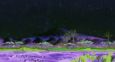 The volcano of Fujiyama, Japan. Night landscape starry night. Panorama of mountains, lake with trees on the shore and reeds in the foreground. Oil painting and digital technologies.